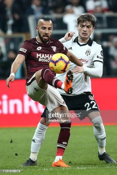 Adem Ljajic of Besiktas in action against Yasin Oztekin of Goztepe during Turkish Super Lig soccer match between Besiktas and Goztepe at Vodafone...
