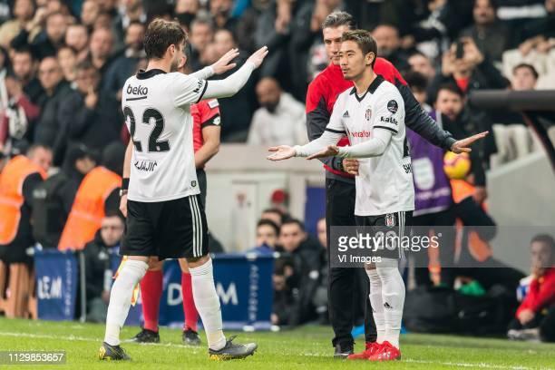 Adem Ljajic of Besiktas JK Shinji Kagawa of Besiktas JK during the Turkish Spor Toto Super Lig football match between Besiktas JK and Atiker...