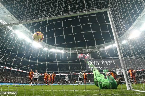 Adem Ljajic of Besiktas scores a goal during Turkish Super Lig soccer match between Besiktas and Galatasaray at Vodafone Park in Istanbul Turkey on...