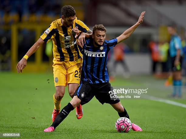 Adem Ljajic of FC Internazionale in action during the Serie A match between FC Internazionale Milano and Hellas Verona FC at Stadio Giuseppe Meazza...