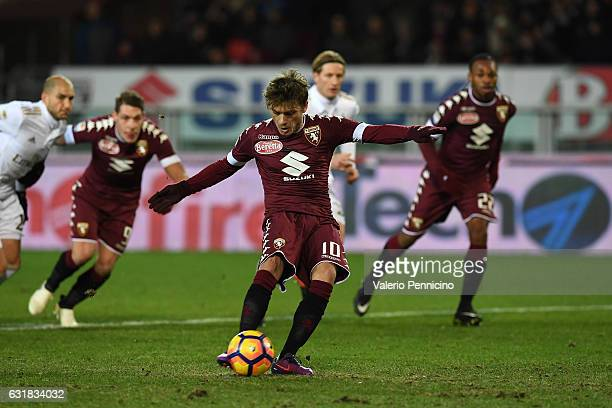 Adem Ljajic of FC Torino misses a penalty during the Serie A match between FC Torino and AC Milan at Stadio Olimpico di Torino on January 16 2017 in...