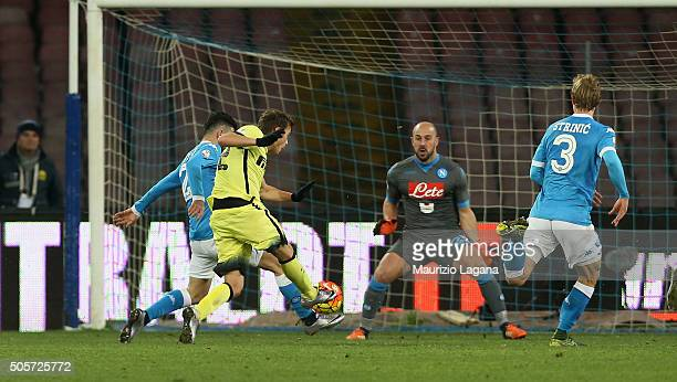Adem Ljajic of Inter scores his team's second goal during the TIM Cup match between SSC Napoli and FC Internazionale Milano at Stadio San Paolo on...