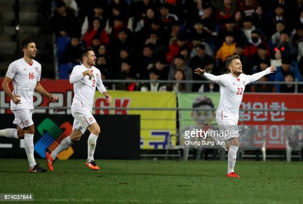 Adem Ljajic of Serbia celebrates after first score during the international friendly match between South Korea and Serbia at Ulsan World Cup Stadium...