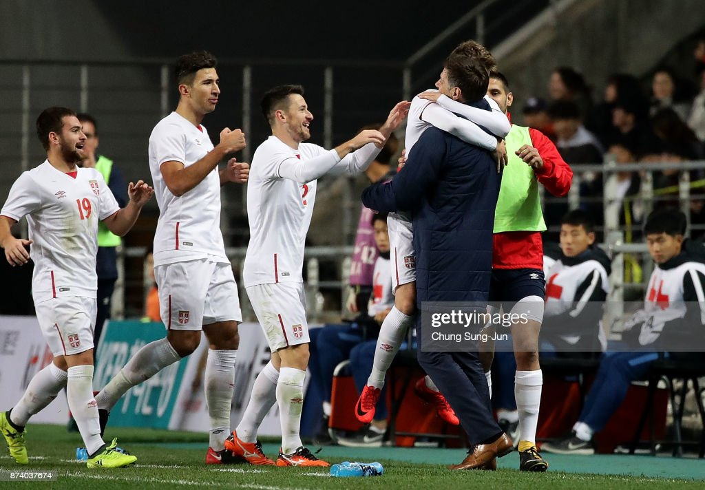 Adem Ljajic of Serbia celebrates after first score during the international friendly match between South Korea and Serbia at Ulsan World Cup Stadium on November 14, 2017 in Ulsan, South Korea.