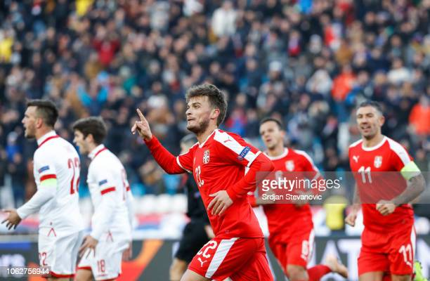 Adem Ljajic of Serbia celebrates after scoring a goal during the UEFA Nations League C group four match between Serbia and Montenegro at stadium...