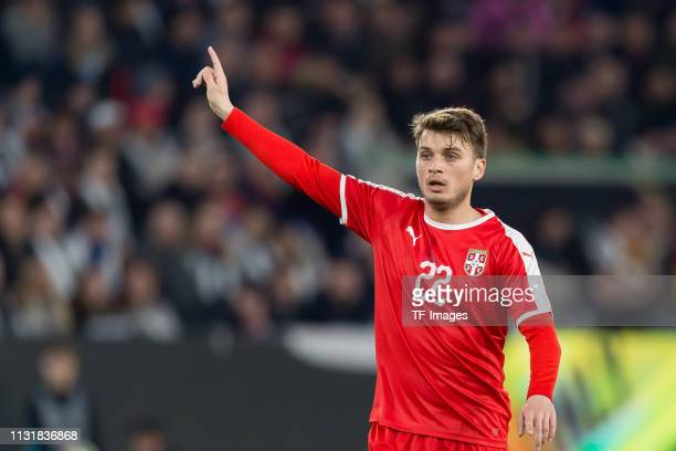Adem Ljajic of Serbia gestures during the International Friendly match between Germany and Serbia at Volkswagen Arena on March 20 2019 in Wolfsburg...