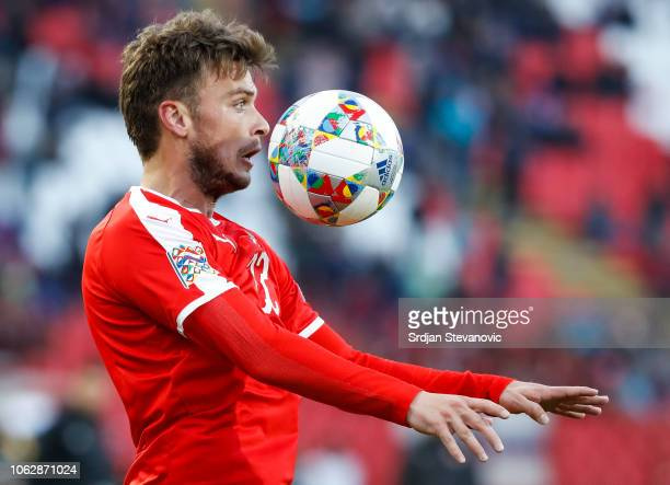 Adem Ljajic of Serbia in action during the UEFA Nations League C group four match between Serbia and Montenegro at stadium Rajko Mitic on November 17...