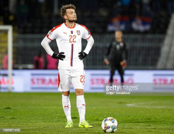 Adem Ljajic of Serbia in action during the UEFA Nations League C group four match between Serbia and Lithuania at Stadium FC Partizan on November 20...