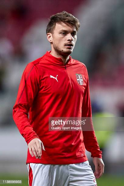 Adem Ljajic of Serbia looks on prior to the 2020 UEFA European Championships group B qualifying match between Portugal and Serbia at Estadio do Sport...