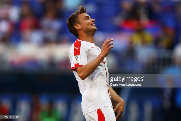 Adem Ljajic of Serbia reacts to a missed chance on goal during the 2018 FIFA World Cup Russia group E match between Costa Rica and Serbia at Samara...