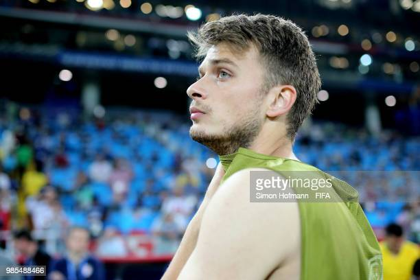 Adem Ljajic of Serbia shows his dejection following the 2018 FIFA World Cup Russia group E match between Serbia and Brazil at Spartak Stadium on June...