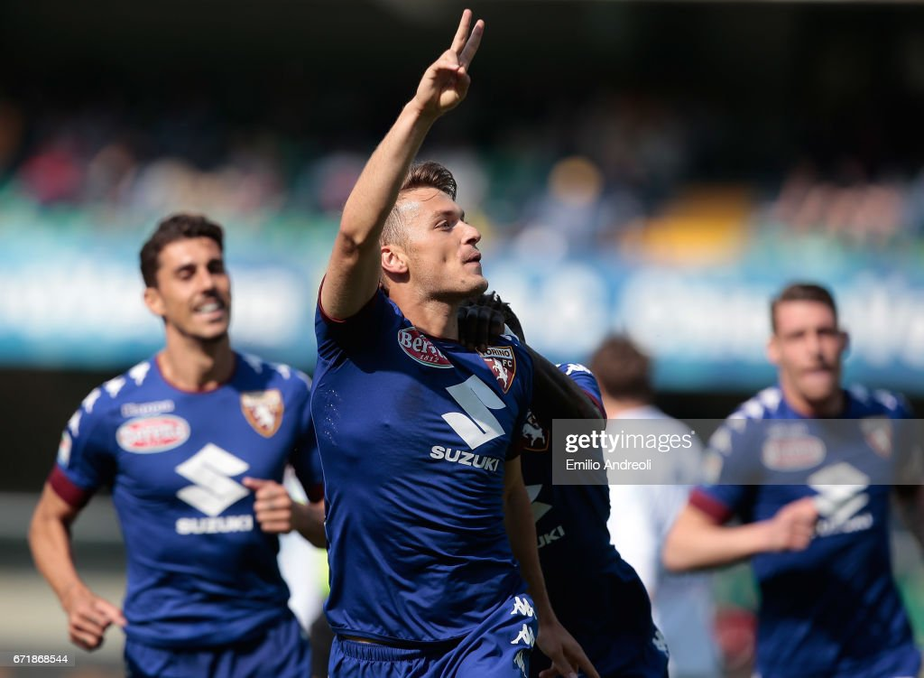 Adem Ljajic of Torino FC celebrates after scoring the opening goal during the Serie A match between AC ChievoVerona and FC Torino at Stadio Marc'Antonio Bentegodi on April 23, 2017 in Verona, Italy.