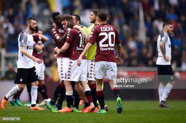 Adem Ljajic of Torino FC celebrates the victory with his teammates at the end of the Serie A football match between Torino FC and FC Internazionale...