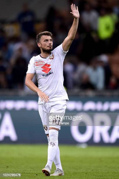 Adem Ljajic of Torino FC greets the supporters at the end of the Serie A football match between FC Internazionale and Torino FC The match ended in a...