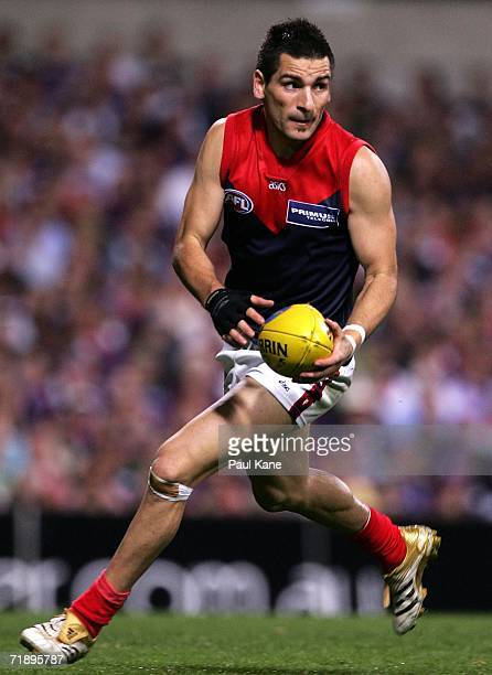 Adem Yze of the Demons in action during the AFL Second Semifinal match between the Fremantle Dockers and the Melbourne Demons at Subiaco Oval on...
