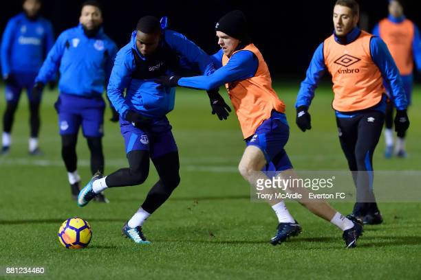 Ademola Lookman and Davy Klaassen during the Everton training session at USM Finch Farm on November 28 2017 in Halewood England