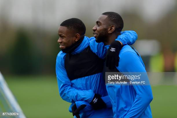 Ademola Lookman and Yannick Bolasie during the Everton training session ahead of the UEFA Europa League match against Atalanta at USM Finch Farm on...