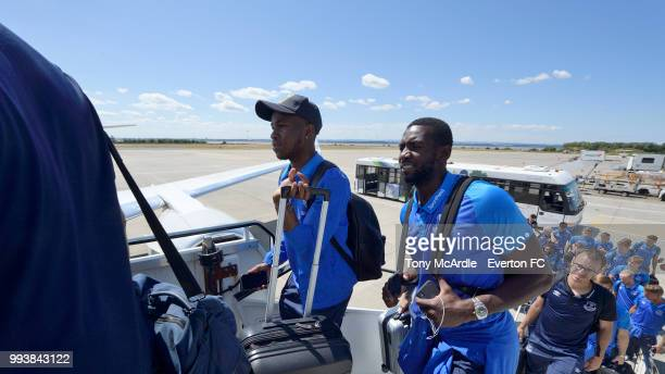 Ademola Lookman and Yannick Bolasie of Everton depart for a preseason training camp at John Lennon Airport on July 8 2018 inLiverpool England