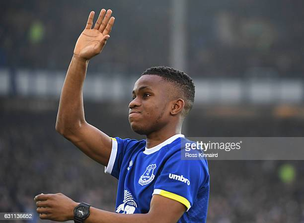 Ademola Lookman applauds supporters during the Emirates FA Cup third round match between Everton and Leicester City at Goodison Park on January 7...