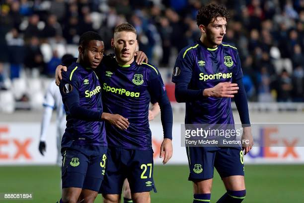 Ademola Lookman celebrates his firstgoal with Nikola Vlasic and Fraser Hornby during the UEFA Europa League Group E match between Apollon Limassol...