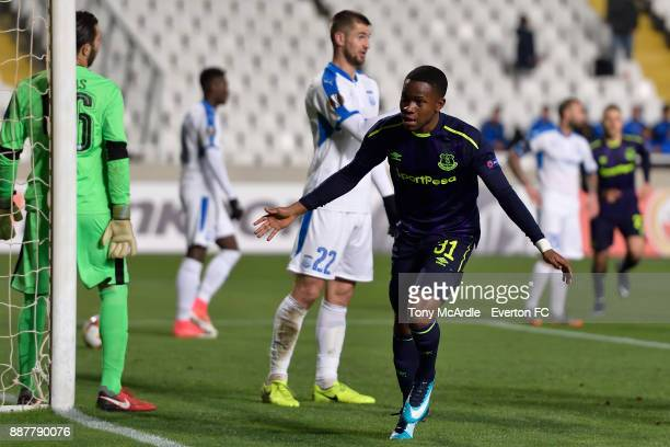Ademola Lookman celebrates his goal during the UEFA Europa League Group E match between Apollon Limassol and Everton at GSP Stadium on December 7...