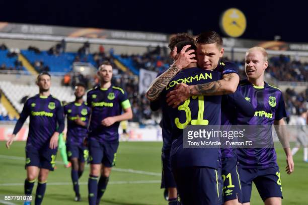 Ademola Lookman celebrates his goal with Muhamed Besic during the UEFA Europa League Group E match between Apollon Limassol and Everton at GSP...
