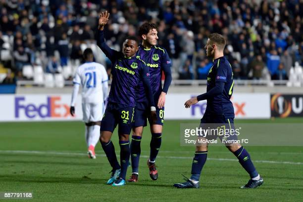 Ademola Lookman celebrates his second goal during the UEFA Europa League Group E match between Apollon Limassol and Everton at GSP Stadium on...