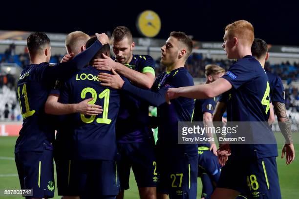 Ademola Lookman celebrates his second goal with Morgan Schneiderlin Nikola Vlasic and Morgan Feeney during the UEFA Europa League Group E match...