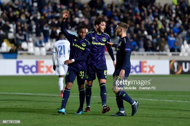 Ademola Lookman celebrates his second goal with Nikola Vlasic during the UEFA Europa League Group E match between Apollon Limassol and Everton at GSP...