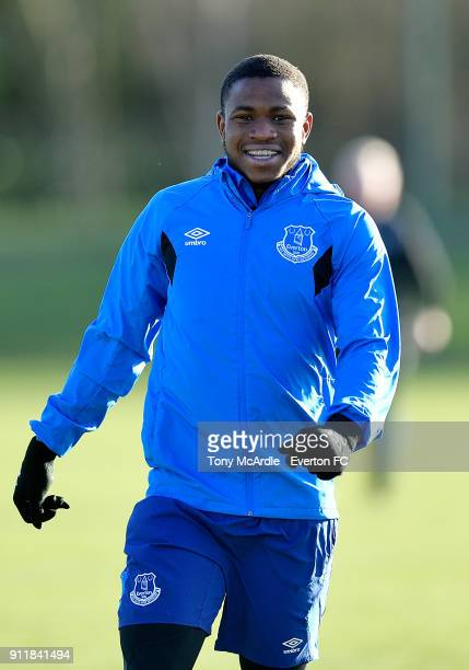 Ademola Lookman during the Everton training session at USM Finch Farm on January 29 2018 in Halewood England