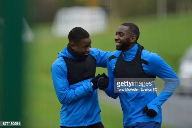 Ademola Lookman greets Yannick Bolasie during the Everton training session ahead of the UEFA Europa League match against Atalanta at USM Finch Farm...