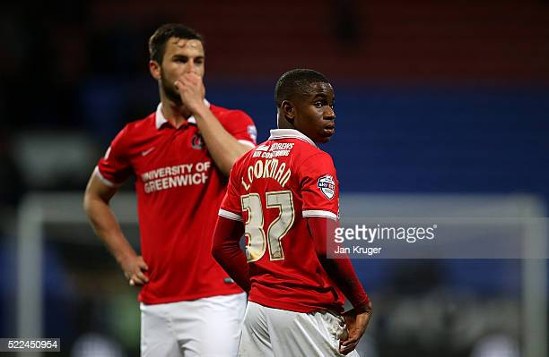 Ademola Lookman of Charlton Athletic looks on at the end of the match as the travelling support shout abuse at the players during the Sky Bet...