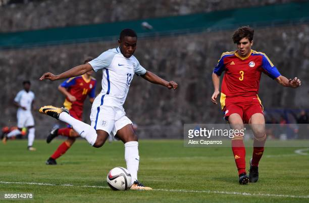 Ademola Lookman of England and Francisco Pomares of Andorra during the UEFA European Under 21 Championship Qualifier between Andorra U21 and England...