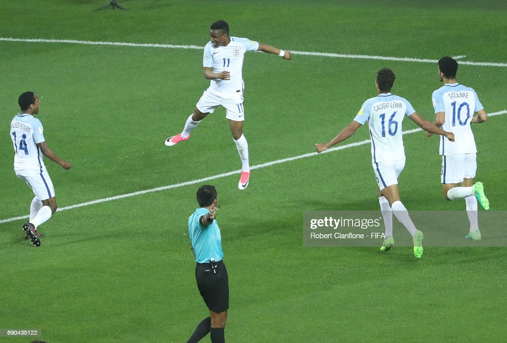 Ademola Lookman of England celebrates after scoring a goal during the FIFA U-20 World Cup Korea Republic 2017 Round of 16 match between England and Costa Rica at Jeonju World Cup Stadium on May 31, 2017 in Jeonju, South Korea.