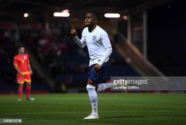 Ademola Lookman of England celebrates scoring the first goal during the 2019 UEFA European Under21 Championship Qualifier between England U21 and...