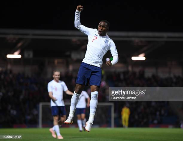 Ademola Lookman of England celebrates scoring the first goal during the 2019 UEFA European Under-21 Championship Qualifier between England U21 and...