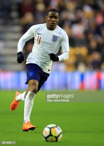 Ademola Lookman of England during the U21 International Friendly match between England U21 and Romania U21 at Molineux on March 24 2018 in...