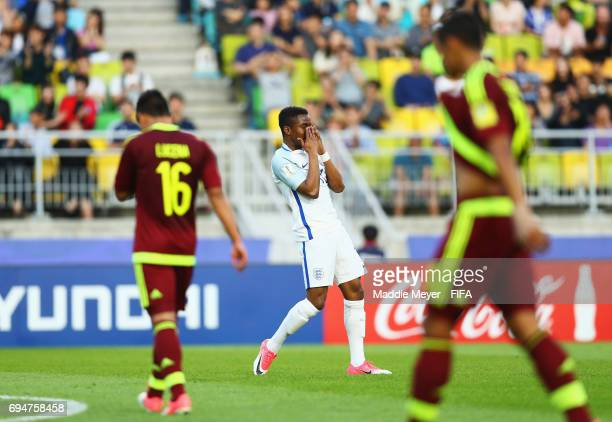 Ademola Lookman of England reacts during the FIFA U20 World Cup Korea Republic 2017 Final between Venezuela and England at Suwon World Cup Stadium on...