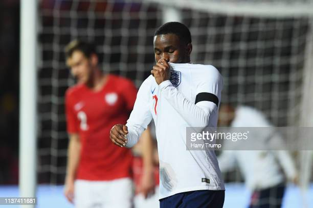 Ademola Lookman of England reacts to a missed chance on goal during the U21 International Friendly match between England and Poland at Ashton Gate on...