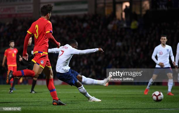 Ademola Lookman of England scores the first goal during the 2019 UEFA European Under-21 Championship Qualifier between England U21 and Andorra U21 at...