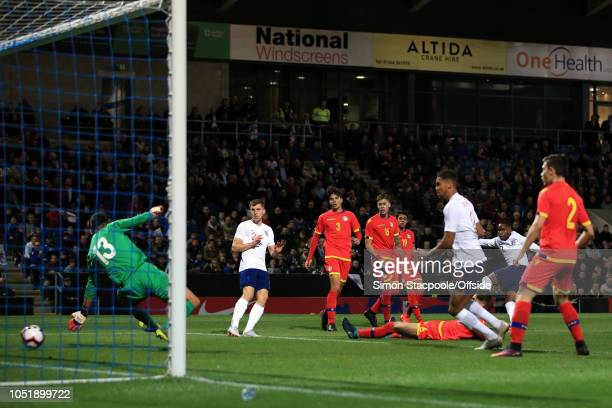 Ademola Lookman of England scores their 1st goal during the 2019 UEFA European Under-21 Championship Group 4 Qualifier between England and Andorra at...