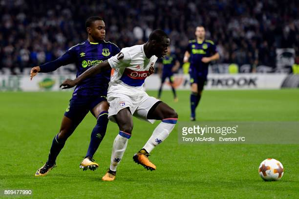 Ademola Lookman of Everton and Mouctar Diakhaby of Olympique Lyon challenge for the ball during the UEFA Europa League match between Olympique Lyon...