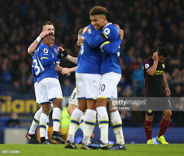 Ademola Lookman of Everton and teammates celebrate followqing their team's 40 victory during the Premier League match between Everton and Manchester...
