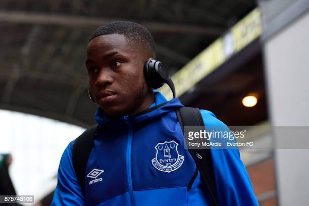 Ademola Lookman of Everton arrives for the Premier League match between Crystal Palace and Everton at the Selhurst Park on November 18 2017 in London...