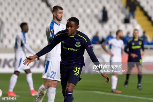 Ademola Lookman of Everton celebrates his first goal debut during the UEFA Europa League Group E match between Apollon Limassol and Everton at GSP...