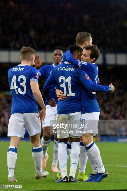 Ademola Lookman of Everton celebrates his goal with Bernard during the Emirates FA Cup Third Round match between Everton and Lincoln City at Goodison...