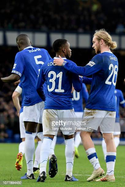 Ademola Lookman of Everton celebrates his goal with Tom Davies during the Emirates FA Cup Third Round match between Everton and Lincoln City at...