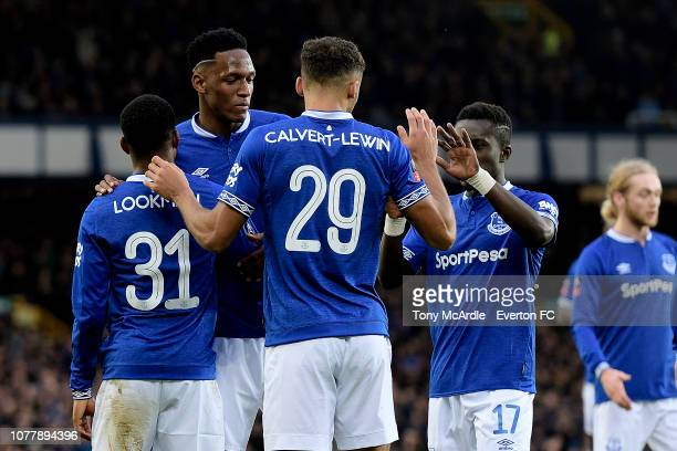 Ademola Lookman of Everton celebrates his goal with Yerry Mina during the Emirates FA Cup Third Round match between Everton and Lincoln City at...