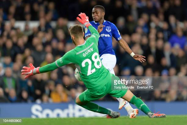 Ademola Lookman of Everton has a shpt saved by Angus Gunn during the Carabao Cup third round match between Everton and Southampton at Goodison Park...