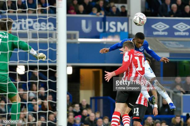 Ademola Lookman of Everton heads to score during the Emirates FA Cup Third Round match between Everton and Lincoln City at Goodison Park on January...